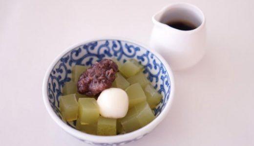 【寒天レシピ】しっかり歯ごたえ「煎茶あんみつ」の作り方